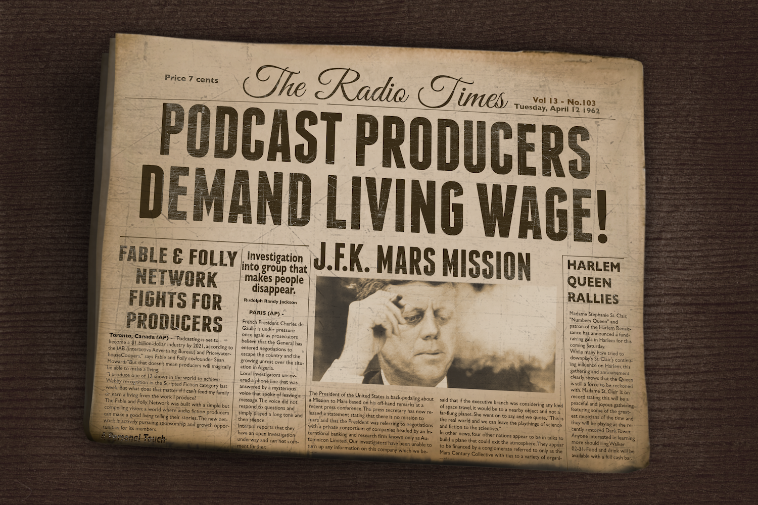 Vintage newspaper with headline Podcast Producers Demand Living Wages