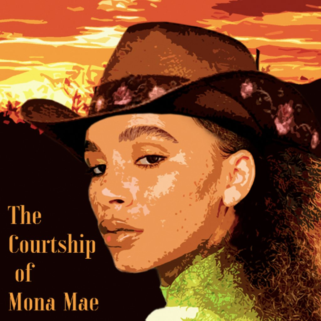 A black female pioneer in a cowboy hat looking at us against a sunset